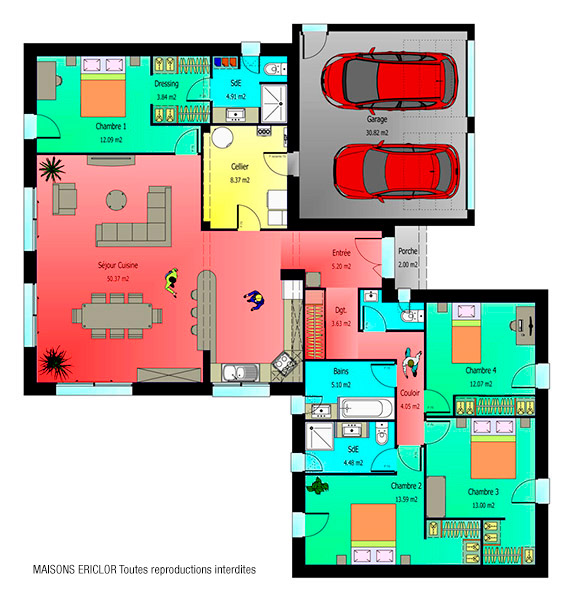 Plan maison moderne plain pied 4 chambres uj55 jornalagora for Plan de maison 6 chambres